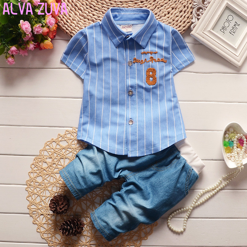 Gentleman Children Summer Clothing Set Baby Boys Striped Formal Shirts+Shorts Jeans Suit Infant clothing Clt156