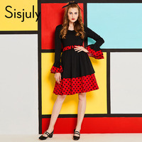 Sisjuly Vintage Women Dress Autumn Long Sleeve V Neck Girl Dresses Office Elegant Party Black Polka