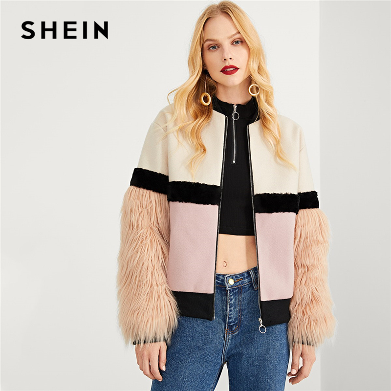 SHEIN Multicolor Highstreet Office Lady Zip Up Faux Fur Sleeve Plaid Notched Coat 2018 Autumn Elegant Women Coat Outerwear