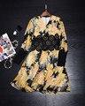 Mejor calidad nuevo 2017 primavera verano dress mujeres v-cuello de la gasa de seda de impresión ahueca hacia fuera el bordado del cordón del partido del diseñador amarillo dress