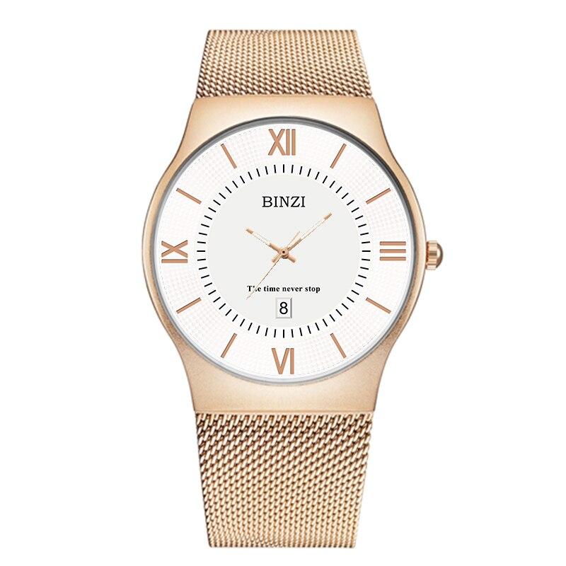 BINZI 2018 Mens Watch Fashion Quartz Watches Top Brand Luxury Men Clock Relogio Masculino Male Milan Steel Gold Wristwatches