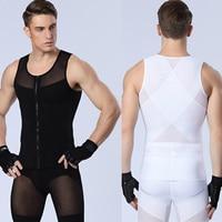 Sexy Men S Slimming Underwears Body Shaper Fitness Vests Sculpting Powernet Strong Mesh Zipper Shapers Tank