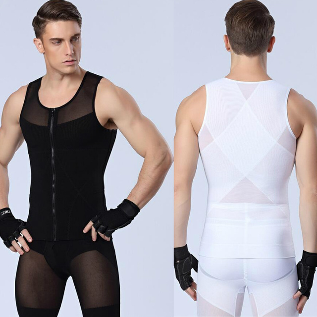 Sexy slimming Underwear shaper do corpo dos homens Coletes À Prova de aptidão sculpting Powernet Forte malha Zipper Shapers tops Transporte da gota