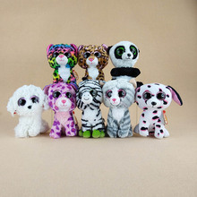 8 Styles Kawaii TY Beanie Boos Big Eyes Panda Dog Cat Zebra Plush Soft Stuffed Animals