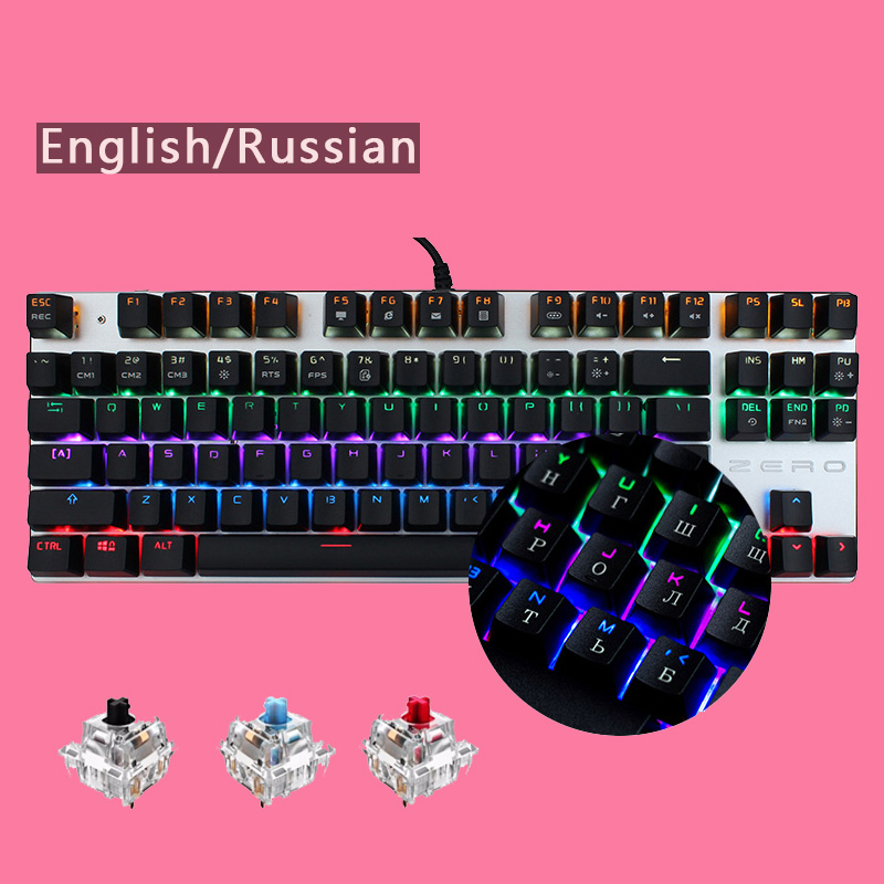 все цены на Me too Gaming Keyboard 87/104 Keys Blue/Red/Black Switch Wired LED Backlight Mechanical Keyboard for Computer Laptop Games Gamer онлайн