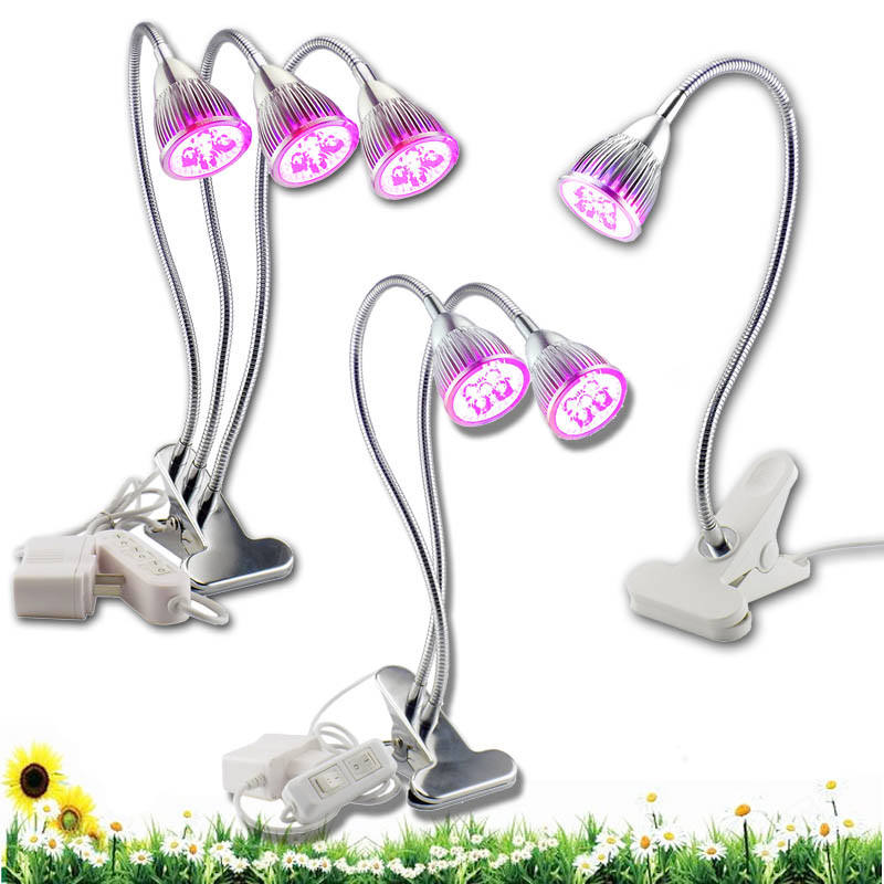 3 Types Indoor Flower LED Gooseneck Plant Grow Light Bulbs Greenhouse Growth One/Two/Three Lamps Lighting 360 Desk Clip Holder