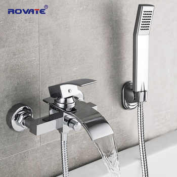 ROVATE Bathtub Shower Set Wall Mounted Waterfall Bath Faucet, Bathroom Cold and Hot Mixer Taps Brass Chrome - DISCOUNT ITEM  42% OFF All Category