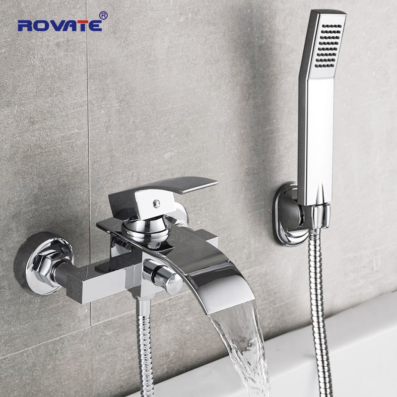 ROVATE Bathtub Shower Set Wall Mounted Waterfall Bath font b Faucet b font Bathroom Cold and