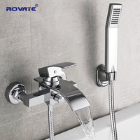 ROVATE Bathtub Shower Set Wall Mounted Waterfall Bath Faucet, Bathroom Cold and Hot Mixer Taps Brass Chrome
