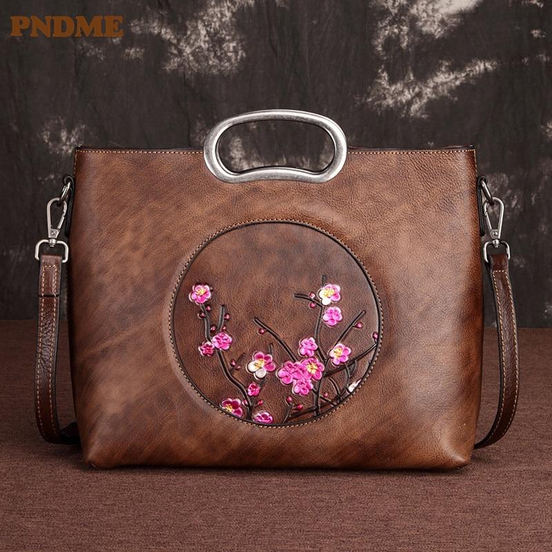 PNDME fashion vintage genuine leather ladies handbags cowhide leather luxury embossed shoulder crossbody bag for women designer
