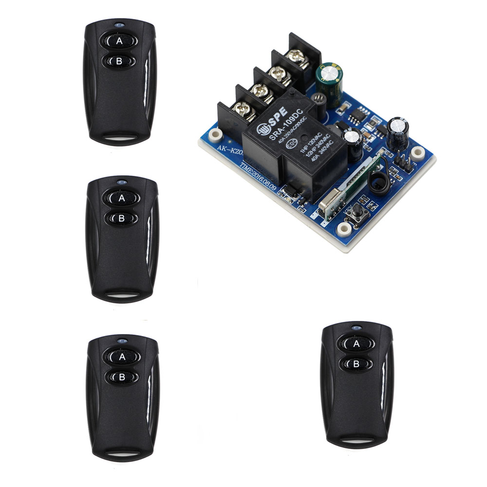 DC 12V-48V Wireless Remote Control Switch Radio Relay Remote Light Switch Remote ON OFF Receiver + 2 Button Black Transmitter 220v 12ch radio wireless remote control switch light lamp led on off 12 receiver