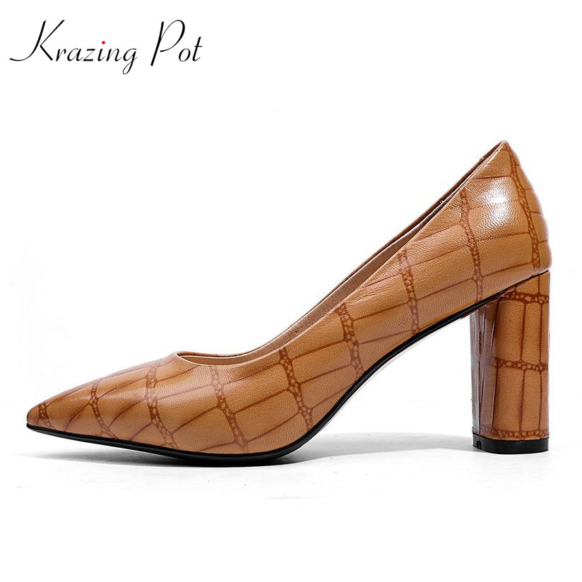 Krazing Pot new arrival retro cow leather streetwear vintage shallow pointed toe high heels party sexy women wedding pumps L20