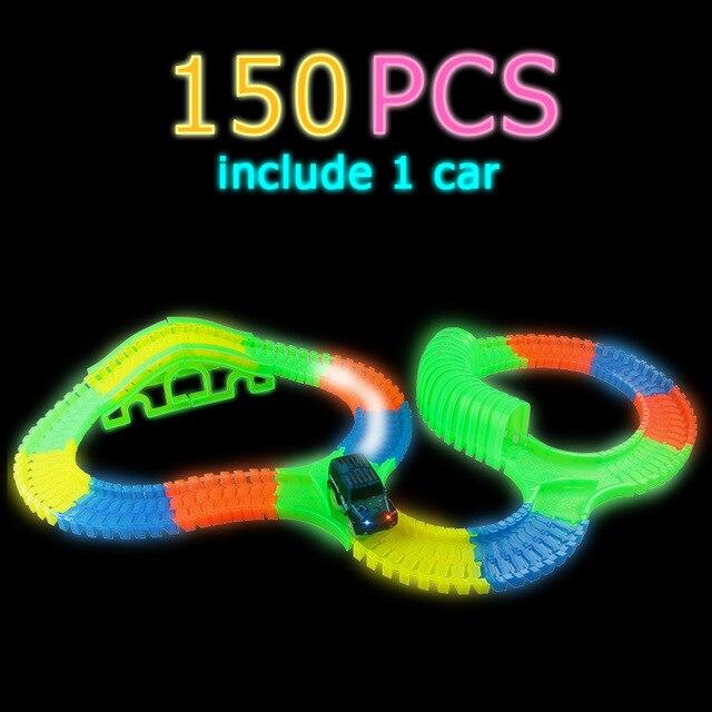 Светящийся гоночный трек изгиб Flex вспышка в темноте сборки гибкий игрушечных автомобилей/165/220/240 шт светящийся гоночный трек Набор DIY головоломки игрушки - Цвет: 150 pcs with 1car