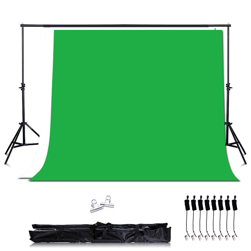 Photo Studio Green Background kit Support Stand kit ,2PCS*2M Background Stand + Woven Green Screen Backdrops+8PCS Backdrop Clips