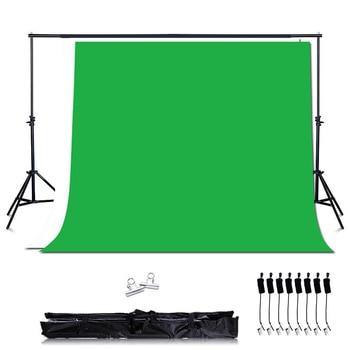 Photo Studio Green Background kit Support Stand kit ,2PCS*2M Background Stand + Woven Green Screen Backdrops+8PCS Backdrop Clips 200cm 300cm grey background backdrop cloth with 2 6m 3m 8 5ft 9 8ft photo background backdrop stand support kit