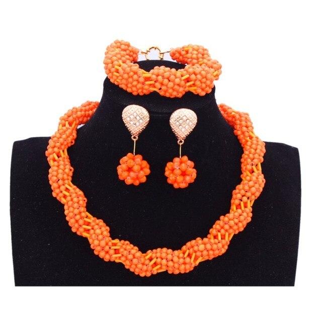 Dudo Jewelry Bridal Jewelry Sets For Women Nigerian Jewelry Dubai Necklace one Layer African beads Jewelry Set Orange 2018 New
