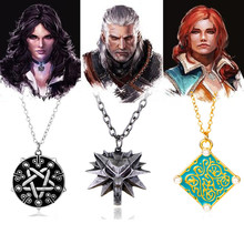 HANCHANG The Witcher 3 Wild Hunt Geralt Wolf Necklace ,Triss Medallion