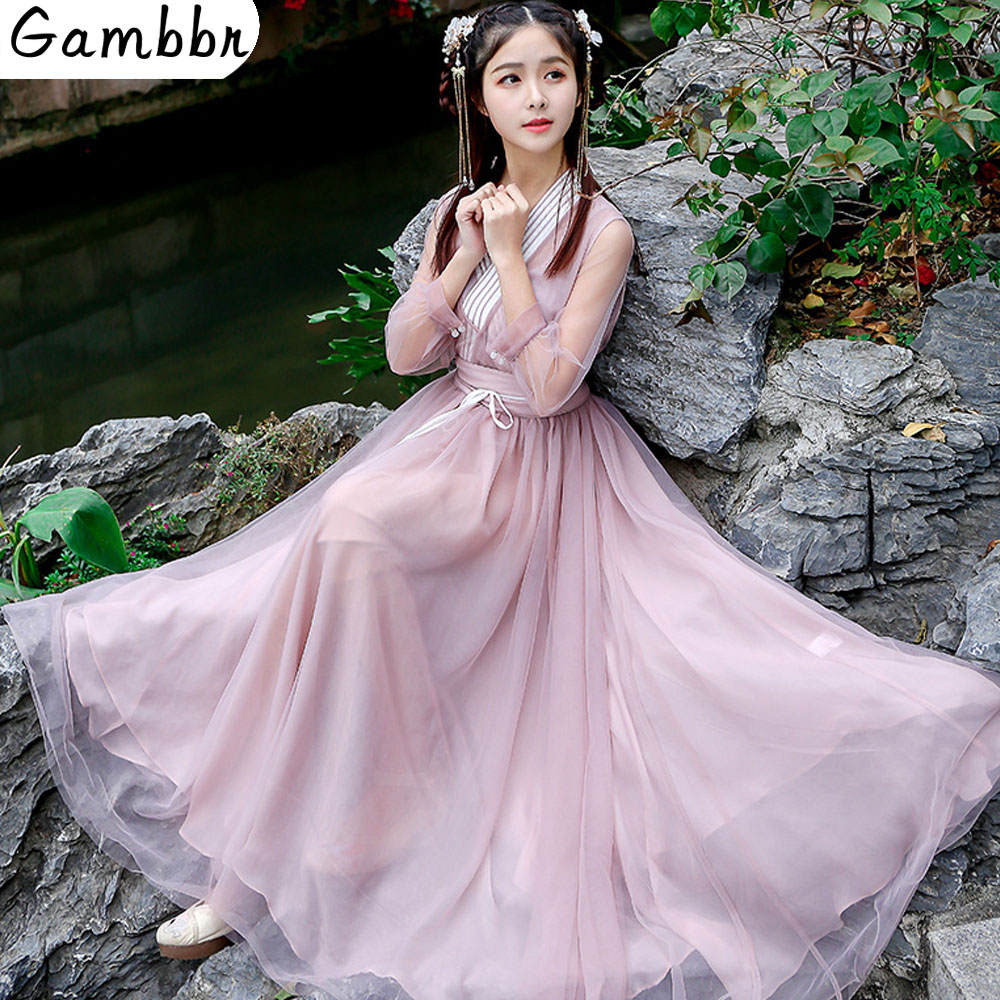 Chinese Traditional Fairy Costume Ancient Han Dynasty Princess Clothing National Hanfu Stage Mesh Dress Folk Dance Costume 2019