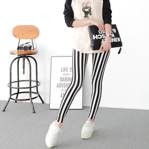 Image 3 - Black and White Vertical Striped Printed Women Leggings Fashion Casual Elasticity Ankle Length Pant Female Fitnes Legging