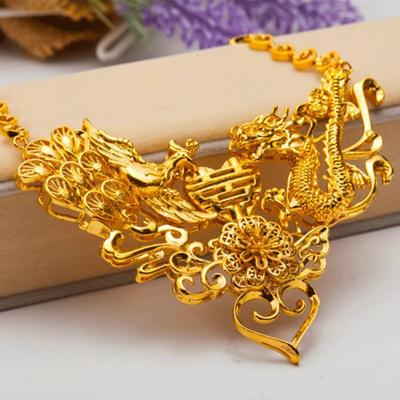 Vintage or jaune rempli Dragon & Phoenix pendentif collier femmes mariage bijoux de mariée cadeau - 2