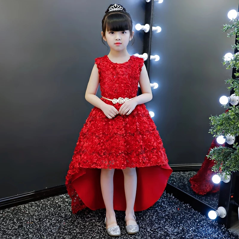 New Baby Little Girls Red Birthday Wedding Party Appliques Flowers Tail Dress Children Fashion Front Short Back Long Skirt Dress сумка jane's story jane's story mp002xw1hf0o
