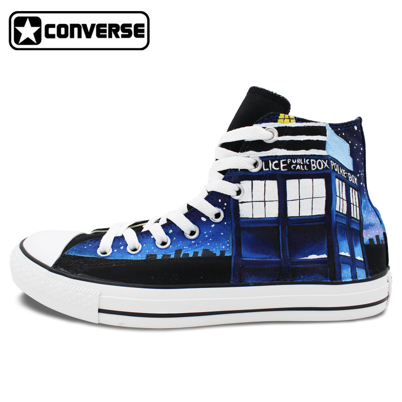 High Top Converse All Star Design Custom Police Box Galaxy Hand Painted font b Shoes b