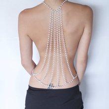 2016 nueva moda Sexy telón de fondo de la perla collar de cadena del cuerpo de la cadena del cuerpo joyería Beach vestido sin espalda boda accesorios