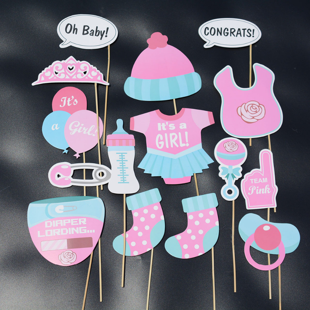 25 PCS/LOT baby shower christening & baptism its a boy n its a girl party direction signs baby shower photo tools