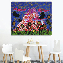 Yayoies kusamaer Bird Mountain Wall Art Canvas Minimalist Posters Prints  Painting Oil Pictures Bedroom Nursery Home Decor