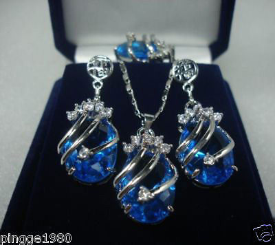 free shipping Stunning blue crystal Jewelry necklace ring earring Set AAA style 100% Natural Noble Fine jewe