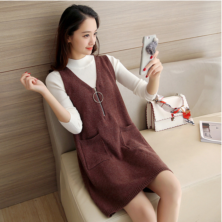 Collar Sweater High-Quality Coat Pullover Dress Vest Knitted Long-Sleeve Loose Autumn Winter