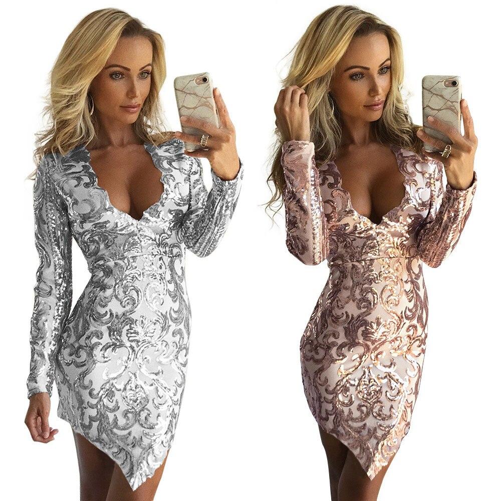 Gold Silvery Sequin Dresses Women 2019 Spring Summer Deep V Neck Sexy Dress Club Wear Mini Short Dresses Party Night Vestidos