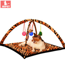 HIPET Funny Cat Bed Mats with Bell Ball Toys Comfortable Plush Portable Foldable Playing Sleeping Pet Kitten Tent