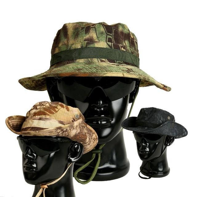 Jungle Secchio Bonnie Cappello Tattico Gorras Forze Speciali Militari SWAT  Sniper Hunter Pescatore di Pesca Camouflage 22dce43e757a