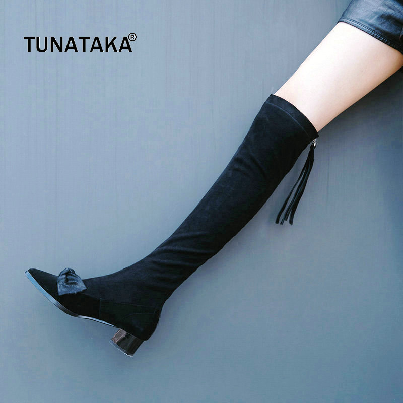Suede Pointed Toe Bow Knot Woman Over The Knee Boots Low Square Heel Woman Stretch Boots Ladies Winter Thigh Boots Black