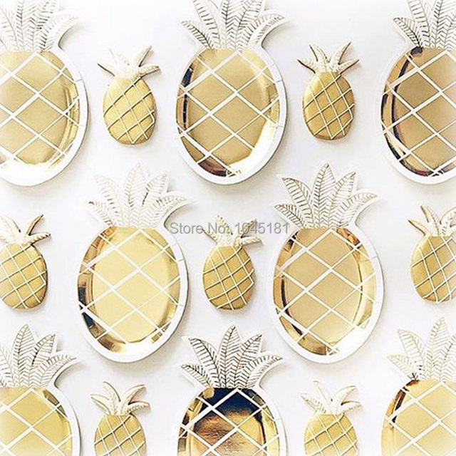 ipalmay Gold Foil Paper Plates Pineapple Design Party Dinner Tableware Kids Birthday Wedding Tropical Theme Luau  sc 1 st  AliExpress.com & ipalmay Gold Foil Paper Plates Pineapple Design Party Dinner ...