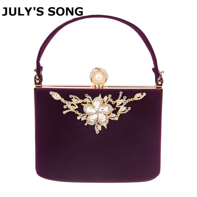 2017 Gold Crystal Flowers Velvet Clutches Bag Party Purse Women Shoulder Diamond Evening Bags Ballot