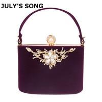 2017 Gold Crystal Flowers Velvet Clutches Bag Party Purse Women Shoulder Bag Diamond Evening Bags Ballot Lock Handbag Clutch Bag