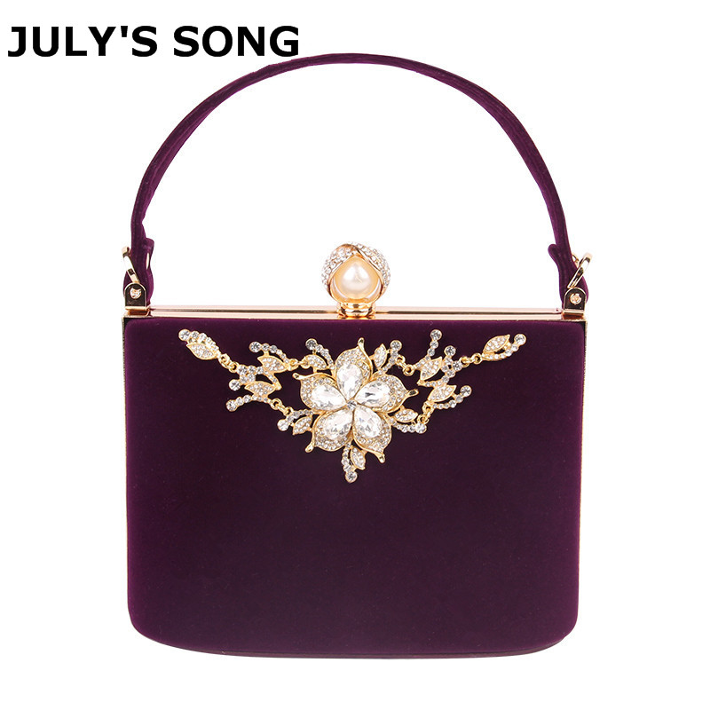 2017 Gold Crystal Flowers Velvet Clutches Bag Party Purse Women Shoulder Diamond Evening Bags Ballot Lock Handbag Clutch