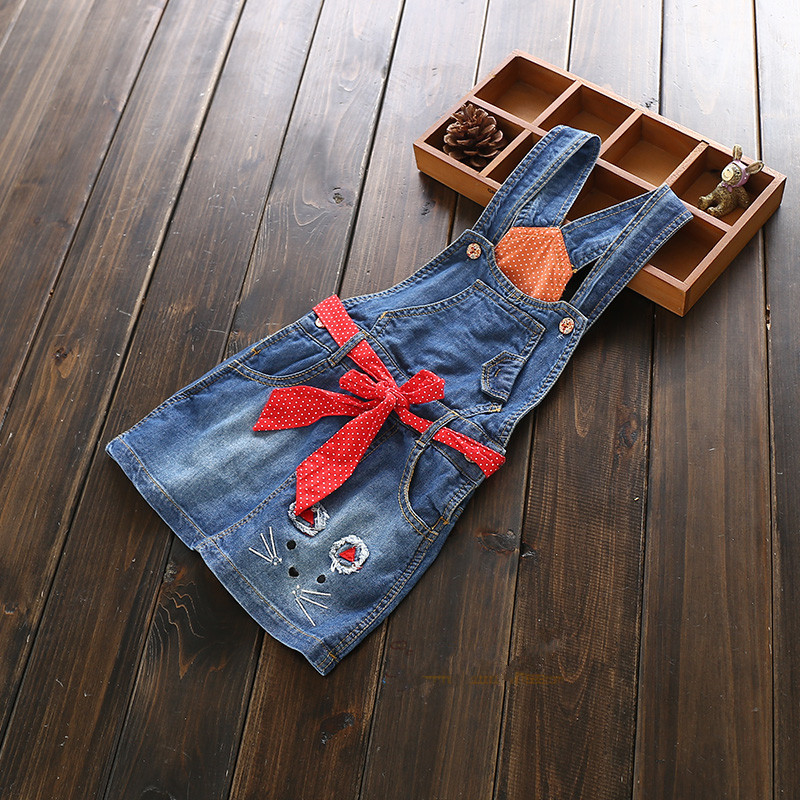 New Arrival Baby Girls Denim Sundress Girls Character Sundress With Belt Girls Suspender Denim dress Kids