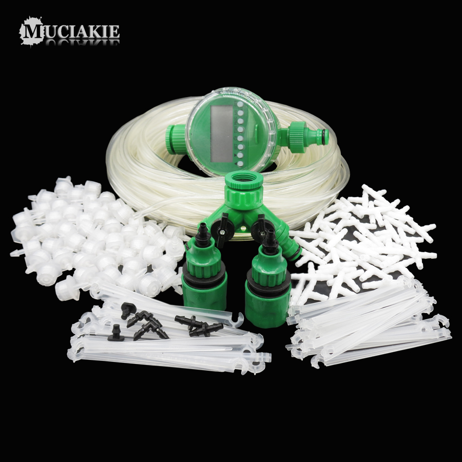 MUCIAKIE 1 Set 164PCS Garden Water Irrigation System Watering Kit Automatic Timer Hose Tee Connector Adjustable
