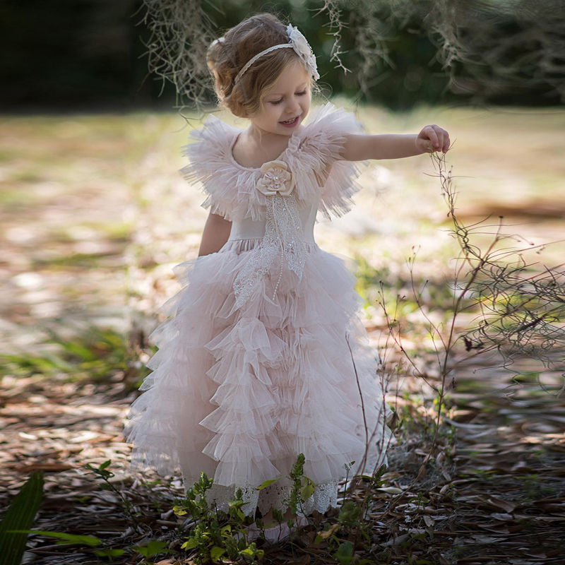 2019 Princess Lace   Flower     Girl     Dresses   Pink Lovely   Girl   Pageant Gowns Tiered Ruffle Tulle Sweet Little Kids Birthday Party   Dress