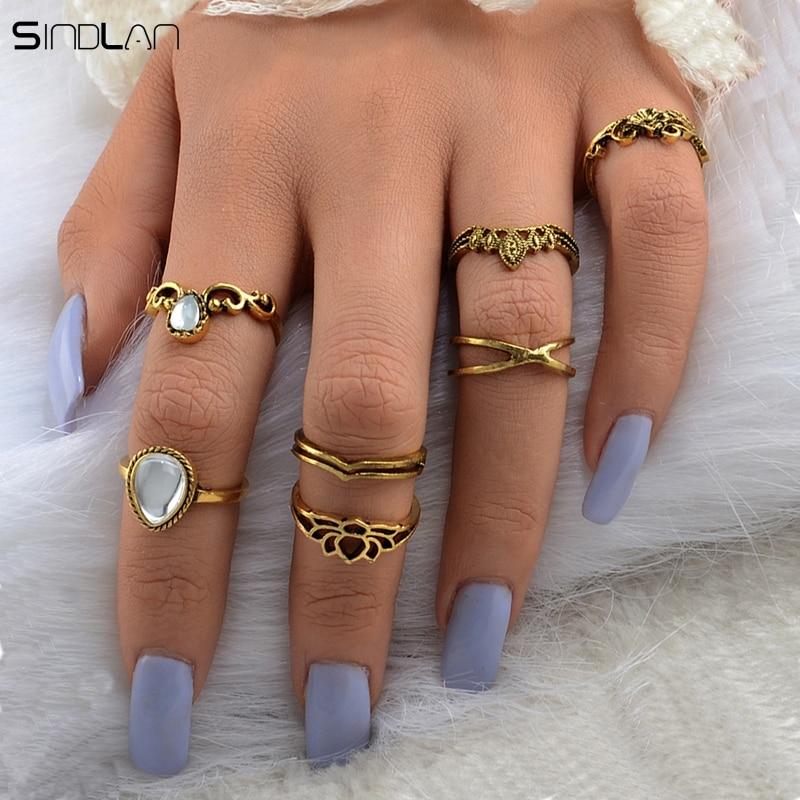 New Fashion Bohemian Pernikahan Perhiasan 7 pcs / Set Besar Tetes - Perhiasan fashion - Foto 2