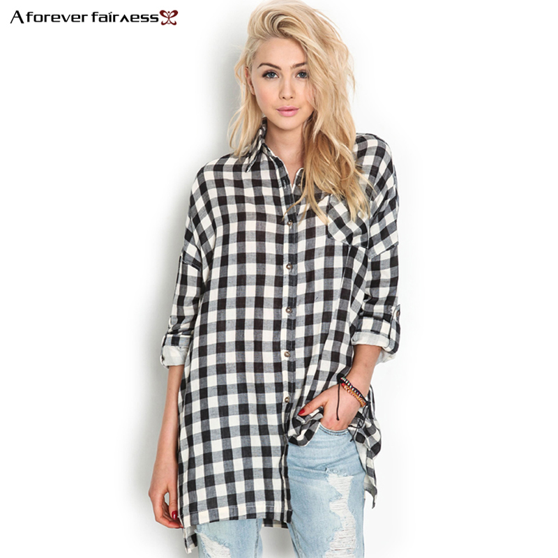 A Forever Women Tops Clothes Punk Style Long Sleeve Casual Black White Plaid Shirts Blouse Loose camisas Blusas femininas AFF429