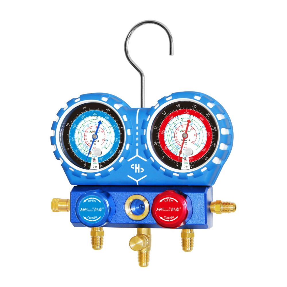 R410A Pressure Gauge Air Conditioning Refrigerant Freon Double Valve Pressure Gauge Diagnostic Repair Tools