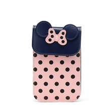 Soft Leather Bowknot Clutch Wallet Cute Polka Dot Women Coin Purses Phone Case Dotted Messenger Bag