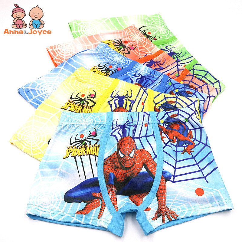 5Pcs/Lot New Kids Panties Boys Boxer Children's 3D Print Boxer Briefs Cartoon Spiderman Underwear u pouch design color block splicing letters print men s boxer brief