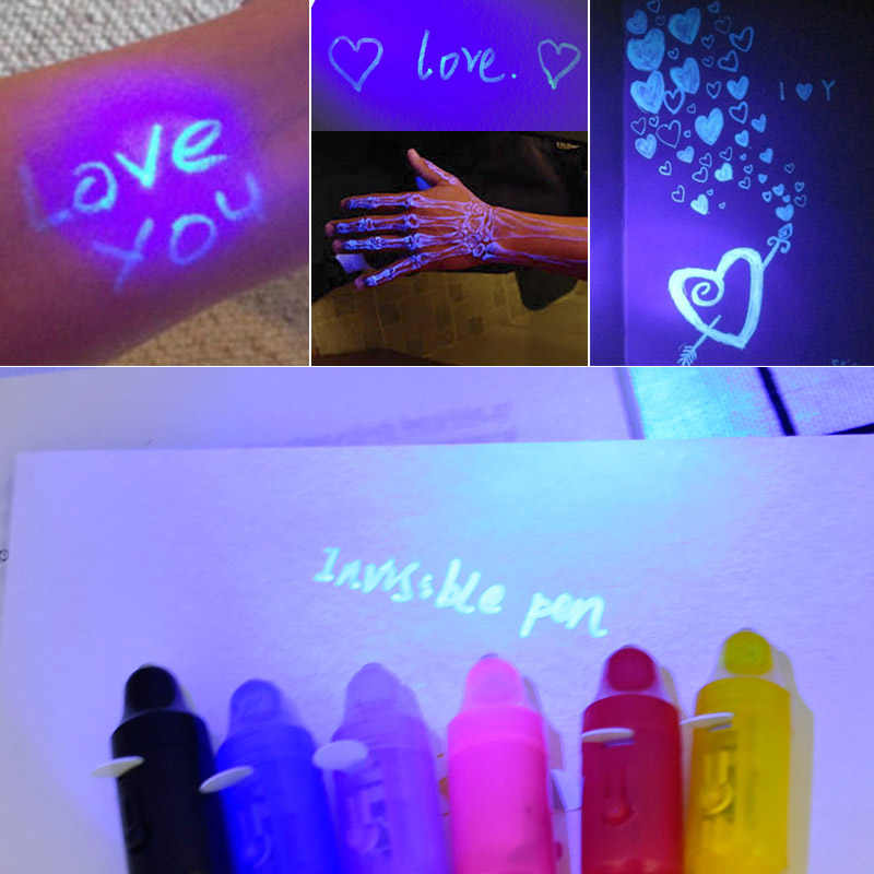 Novidade Magia brinquedo Caneta Marcador marcador Criativo Magia Caneta de Tinta Invisível UV Luz Para As Crianças Estudante Presente Da Novidade Brinquedos Engraçados
