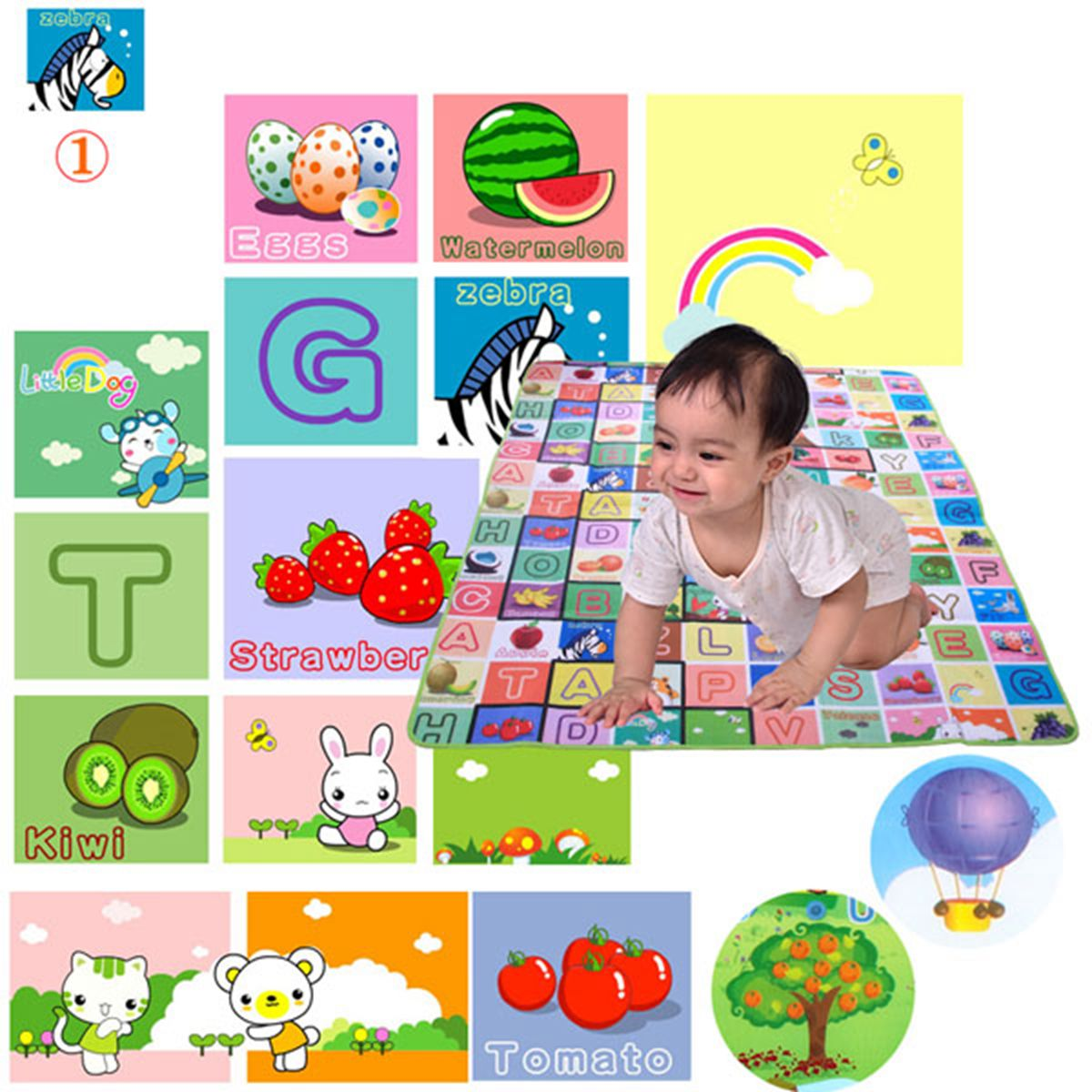Baby Play Mats 200x180cm Doulble-Side Fruit Alphabet Digital Game Rugs For Children Beac ...