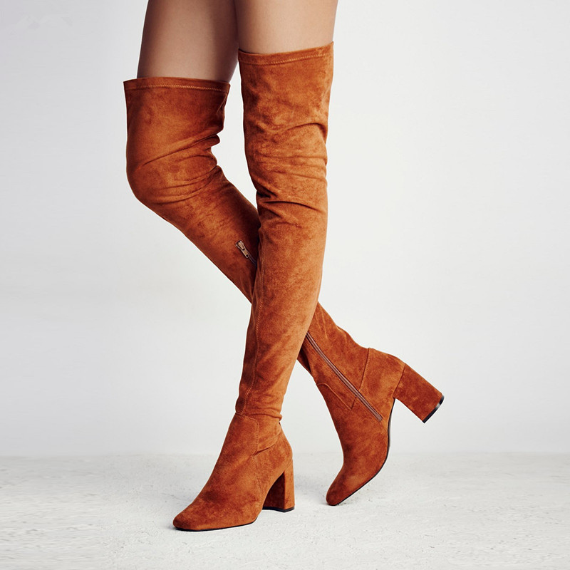 Botas Mujer Orange Wine Red Stretch Suede Thigh High Boots Block Heels Women Tall Boots Over The Knee Motorcycle Boots Women